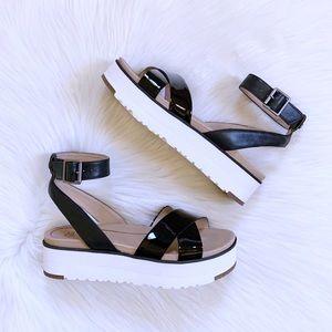 UGG Black Tipton Platform Ankle Strap Sandals